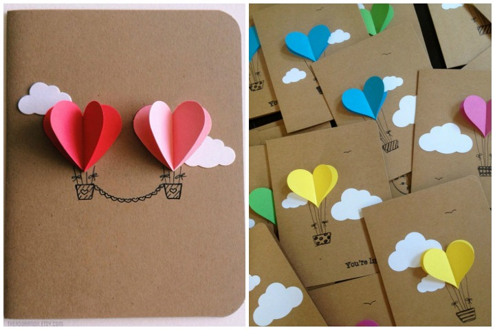 Wedding Invitation Cards - Couple Heart Hot Air Balloon - Invite