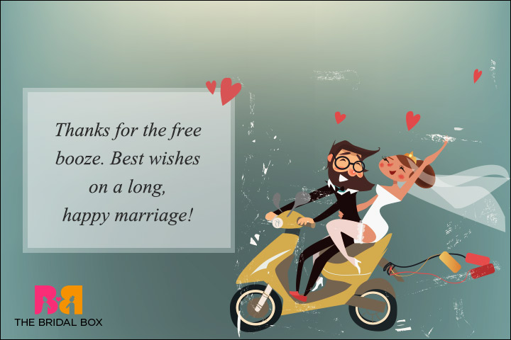 Funny Wedding Wishes - Booze And Best Wishes