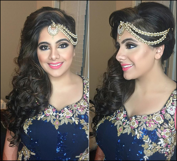 Indian Bridal Hairstyles - Long Wavy Side Down 'Do With Curls And Maang Tikka