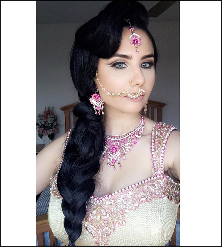 indian bridal hairstyles stylish side braided ponytail with mini bouffant and maang tikka