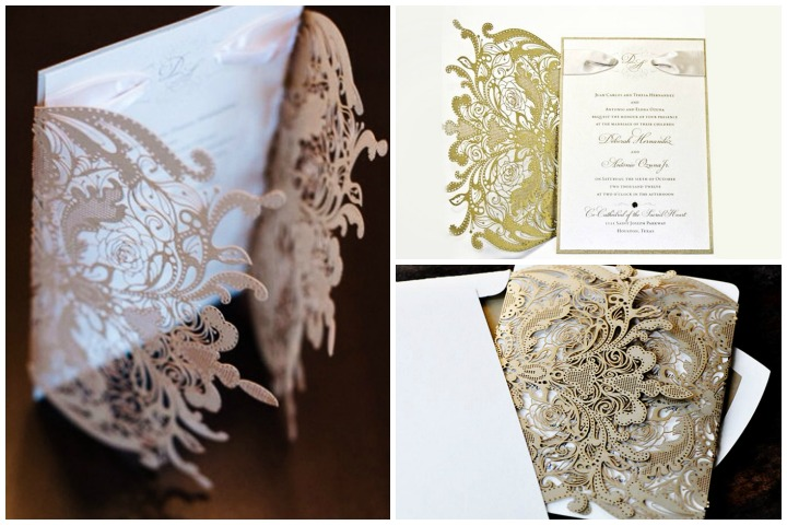 Wedding Invitation Cards - Vintage Lace & Floral Invitation