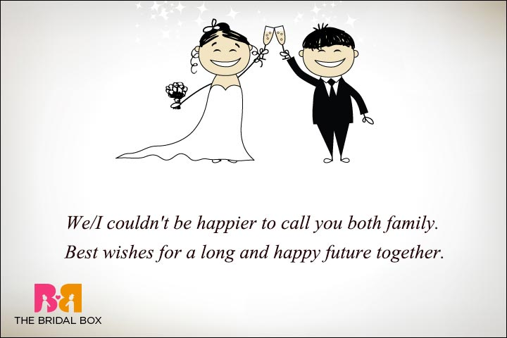 Personal Wedding Wishes - Happy To Call You Family