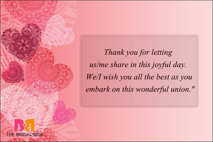 Formal Wedding Day Wishes - Thank You For Sharing And Caring