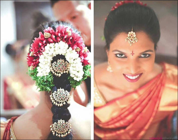 South Indian Bridal Hairstyles For Receptions