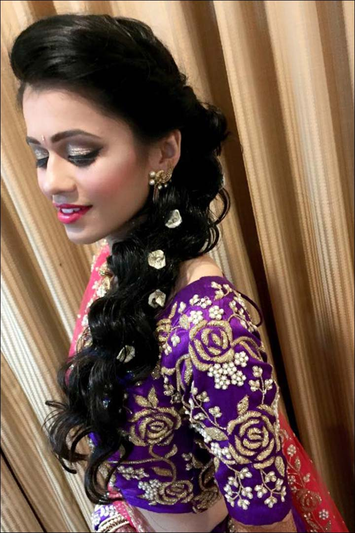 South Indian Bridal Hairstyles For Receptions with pretty hairstyle