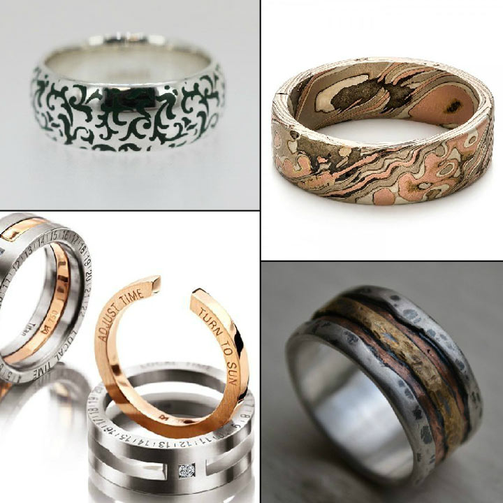 at custom wedding bands home mwb inlays men and wood titanium collection rings s exotic