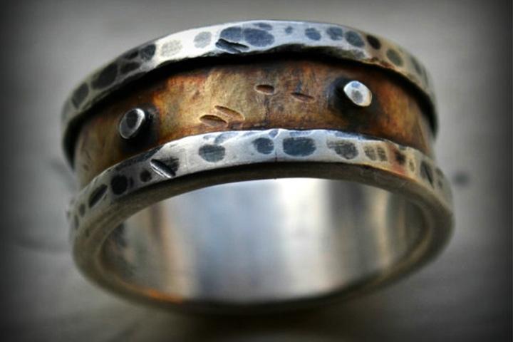 Engagement Rings For Men - Silver & Brass Ring