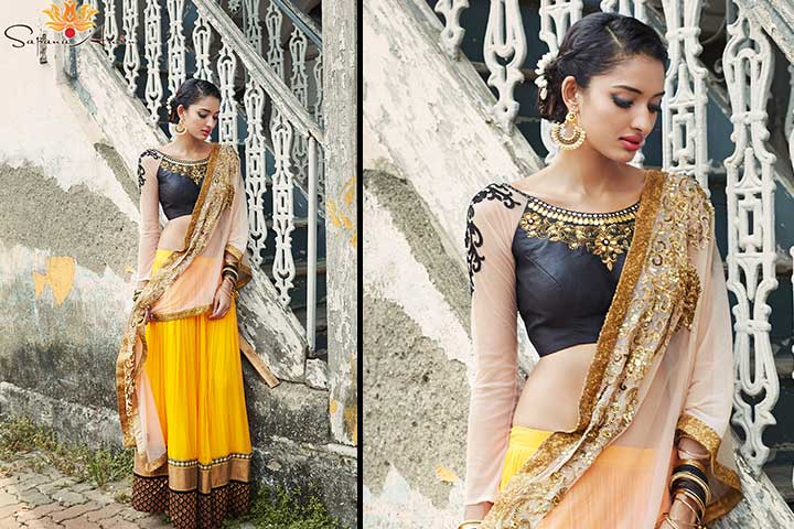 Designer Bridal Lehenga-Yellow and black lehenga