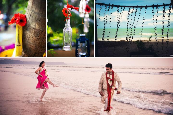 Collage beach wedding
