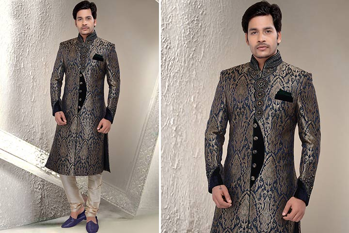 Sherwani For Groom - A Jacquard Art Silk Royal Blue Sherwani