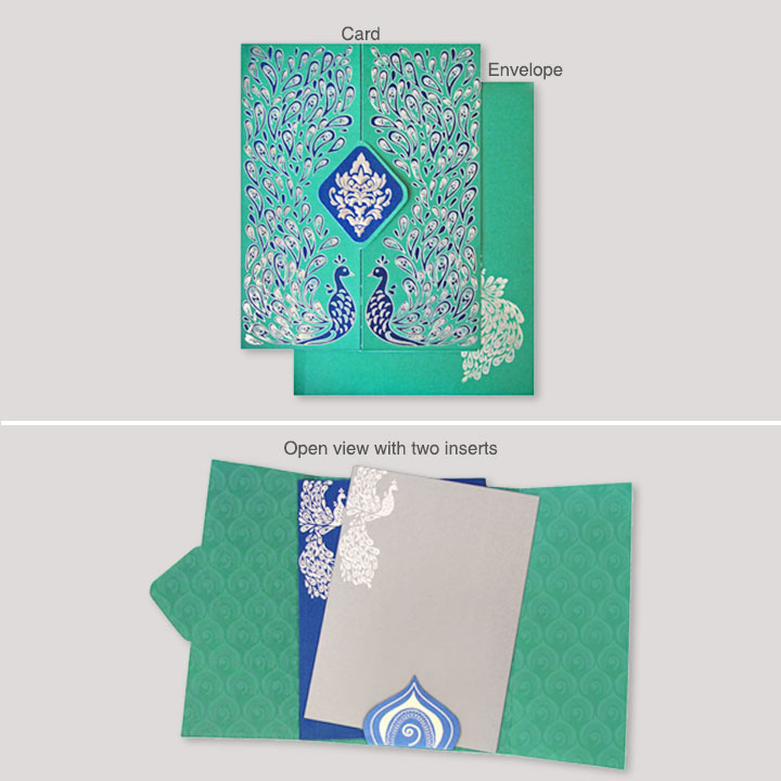 Hindu Wedding Cards-blue peacock wedding card