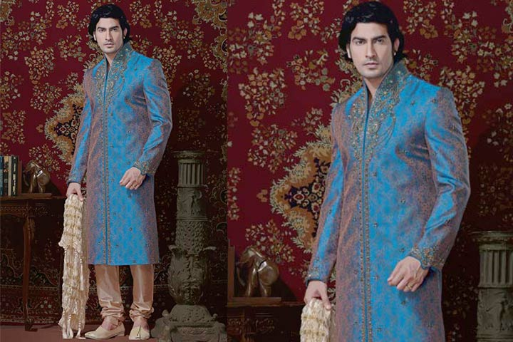 Sherwani For Groom - A Peacock Blue Embroidered Sherwani