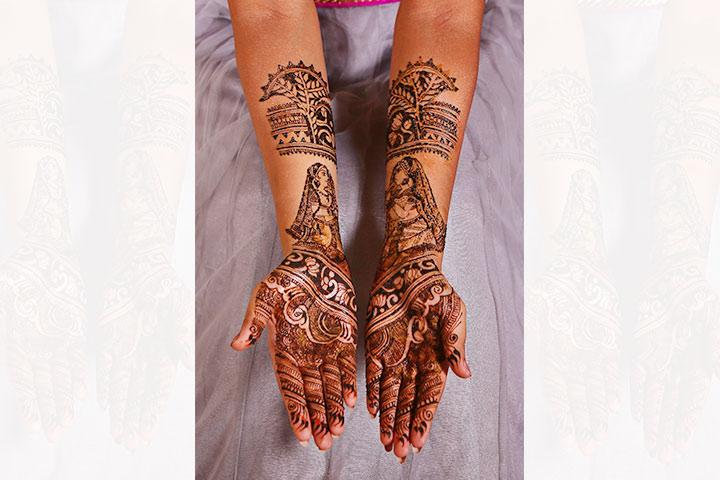 floral motifs fullhand bridal mehndi