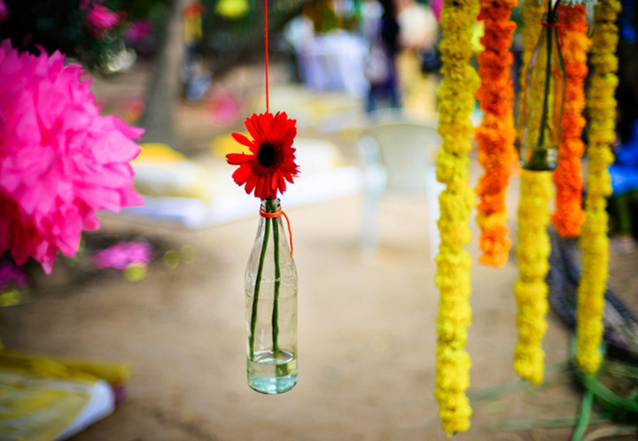 south indian wedding decorations flower in bottle decor - Indian Wedding Decorations