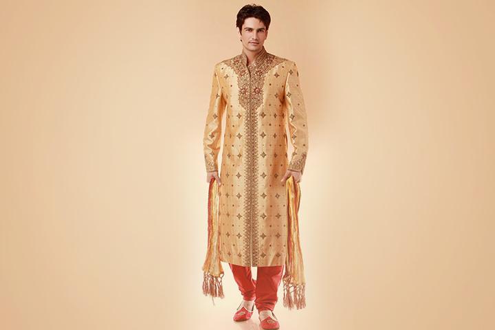 Sherwani For Groom - A Golden Beige Sherwani With Chudidar