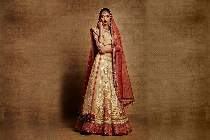 Designer Bridal Lehenga-red and golden bridal lehenga