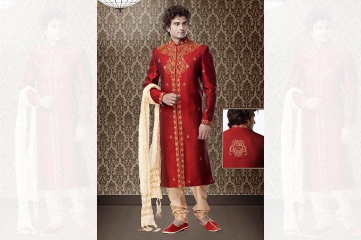 Sherwani For Groom - A Deep Red Sherwani
