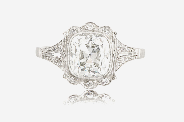 Antique Engagement Rings - cushion cut ring