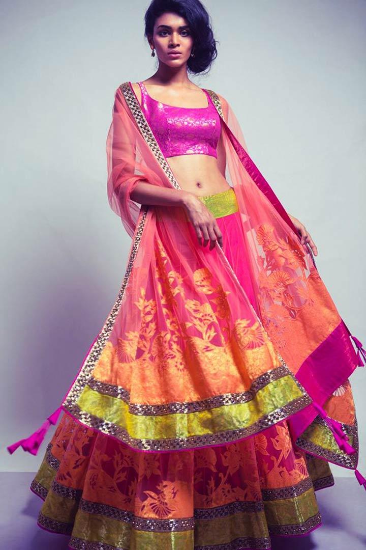 Neeta Lulla Bridal Lehenga-Fuchsia-Pink-with-Orange-Appliqué