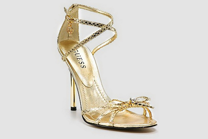 Designer Bridal Shoes - Guess Gold Strappy Sandals