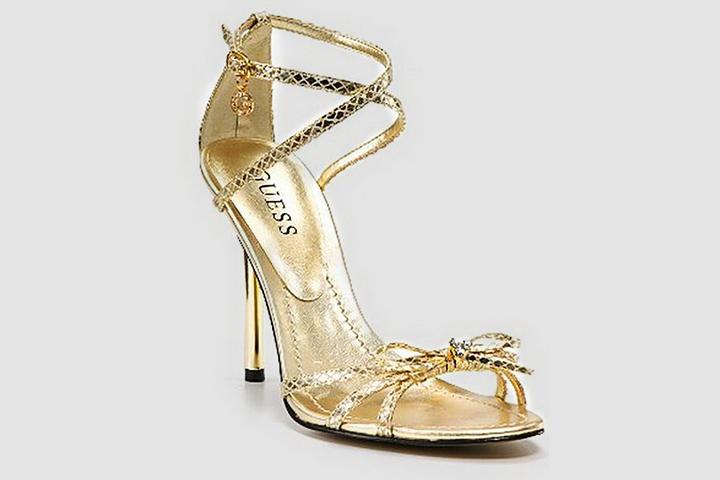 Designer Bridal Shoes - Guess Gold Strappy Sandals