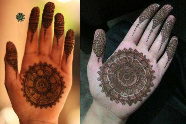 Simple Arabic Mehndi Designs For Beginners - Shaded Concentric Circles Design
