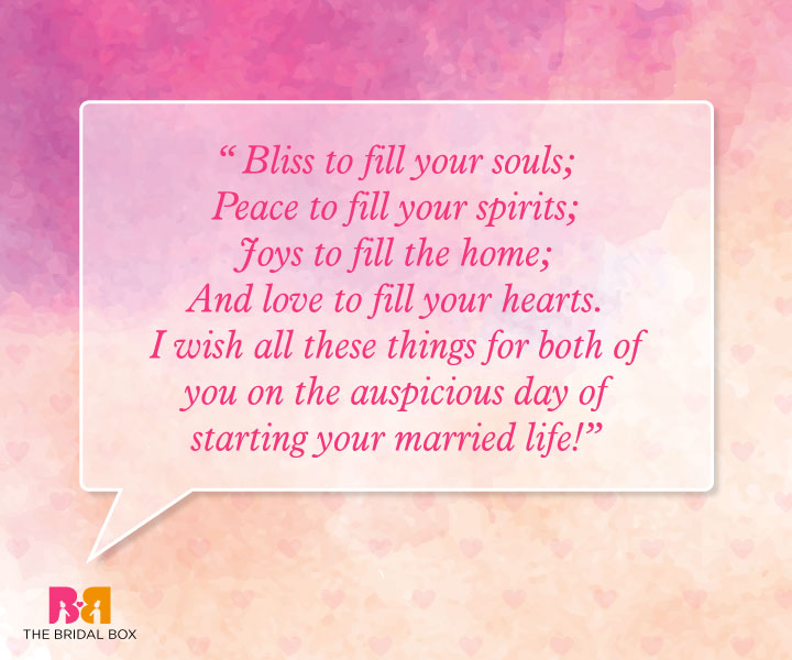 Marriage Wishes Quotes - Bliss, Peace, Joy And Love