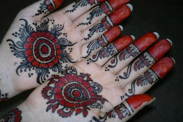Simple Arabic Mehndi Designs For Beginners - Black & Red