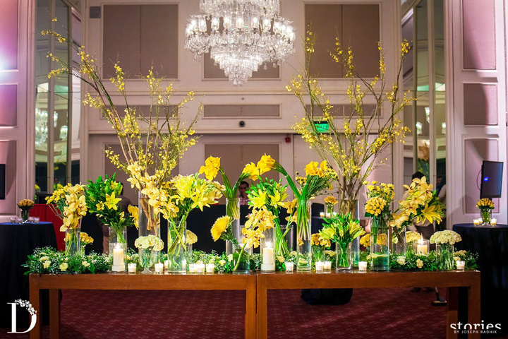 Wedding Table Decoration-table decoration with yellow colour