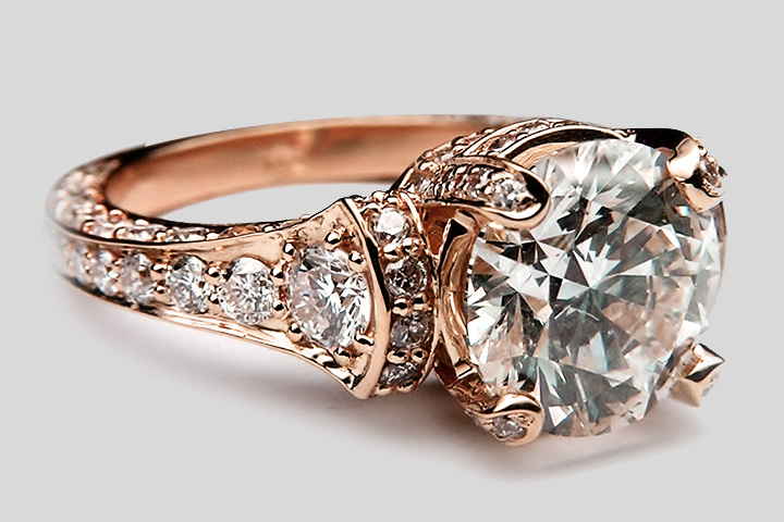 Rose Gold Engagement Rings - The VIntage Rose By MDC Diamonds