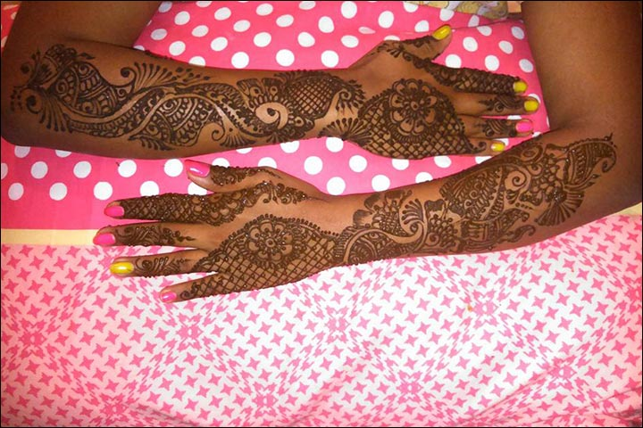Half And Half Arabic Bridal Mehndi Design for Hands