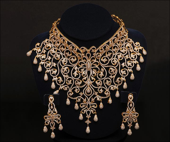 Bridal Gold Jewellery Sets - Diamond Studded Gold Set