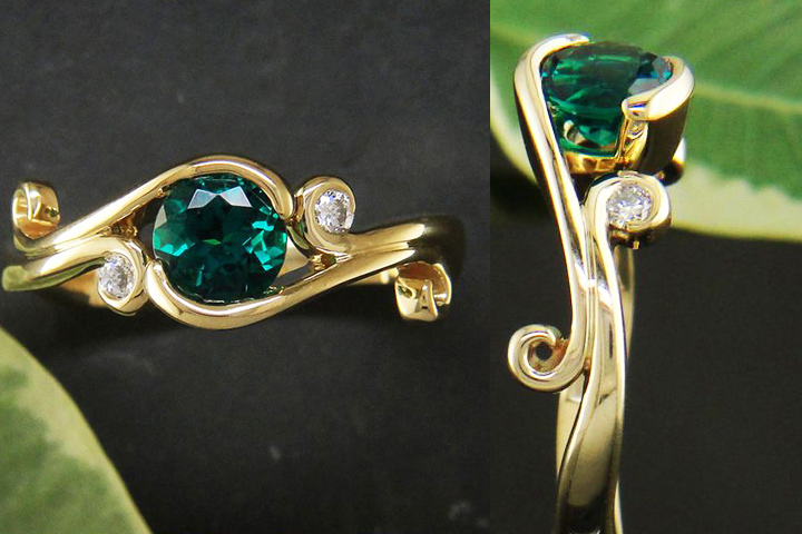 Emerald Engagement Rings - The Intricate Gold And Diamond