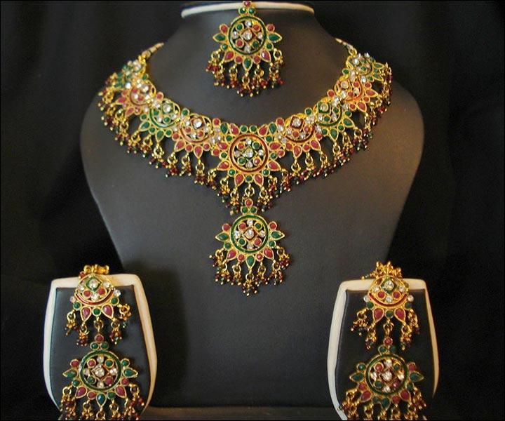 Bridal Gold Jewellery Sets - Gold And Gem Work Set