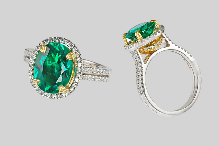 Emerald Engagement Rings - Pave Diamond Set In Gold & Platinum