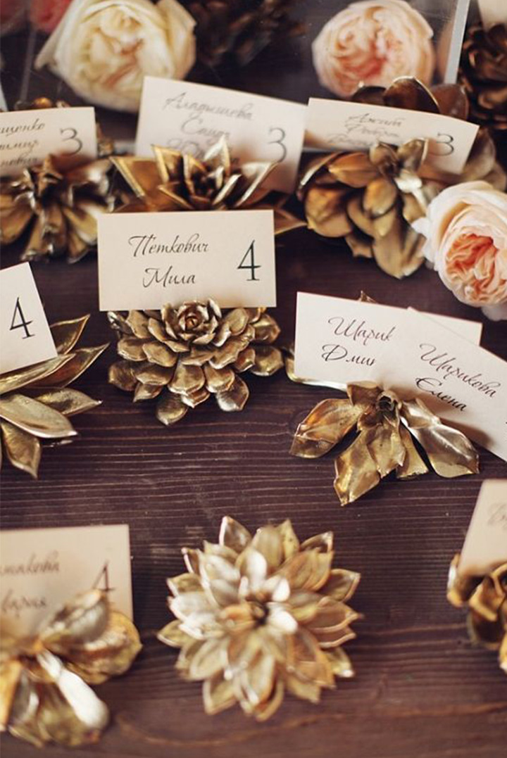 Gold Wedding Escort Cards by Latte Decor