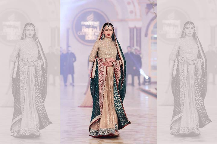 Engagement Dresses For Indian Bride - Green & Cream Dress From Pantene Bridal Show