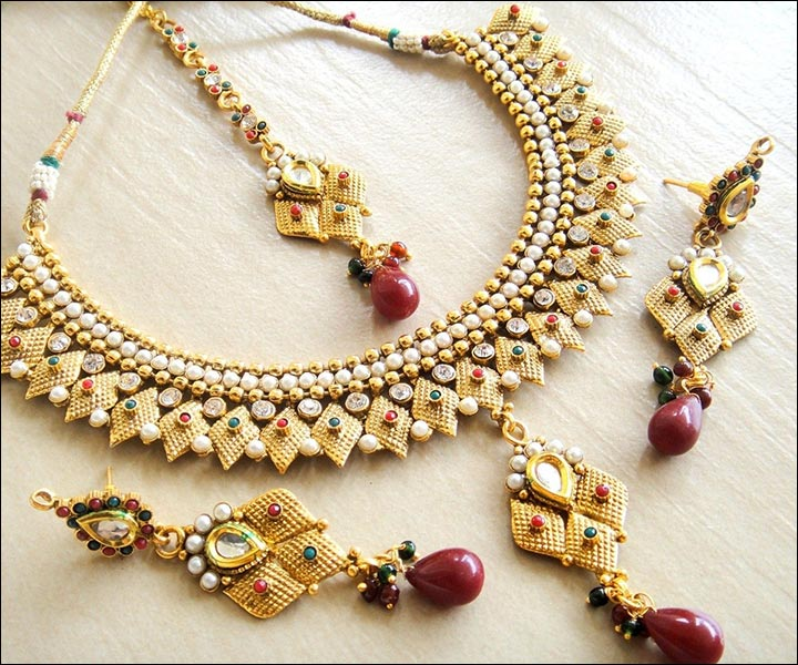 Bridal Gold Jewellery Sets - Polki And Gold Set