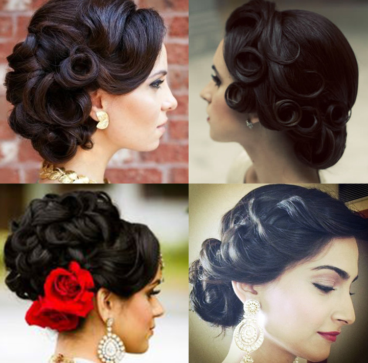 Indian Bridal Hairstyles For Long Hair   Retro Up Do