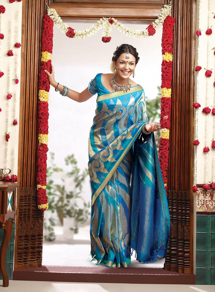 Blue Silk Saree - Engagement Dresses For Indian Bride