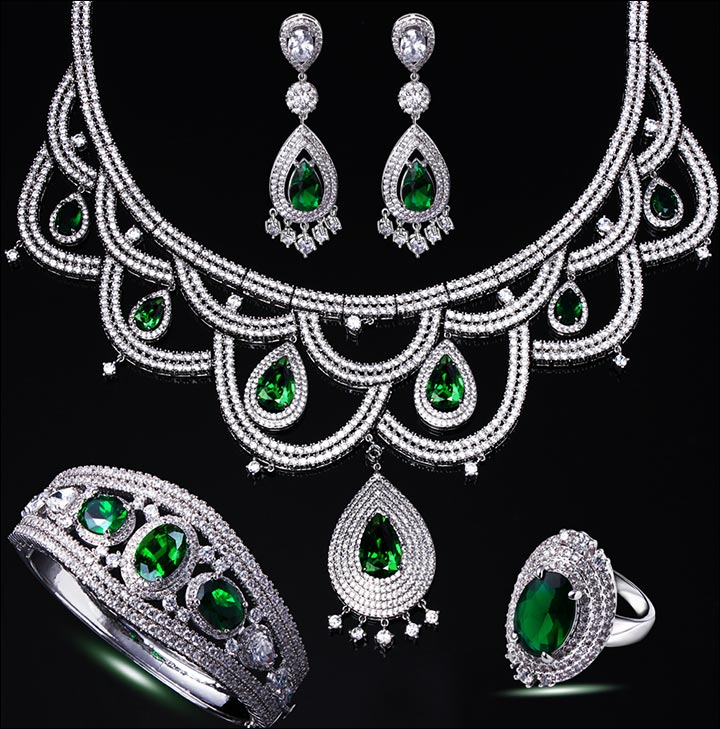 Bridal Gold Jewellery Sets - White Gold Bridal Set With Emeralds