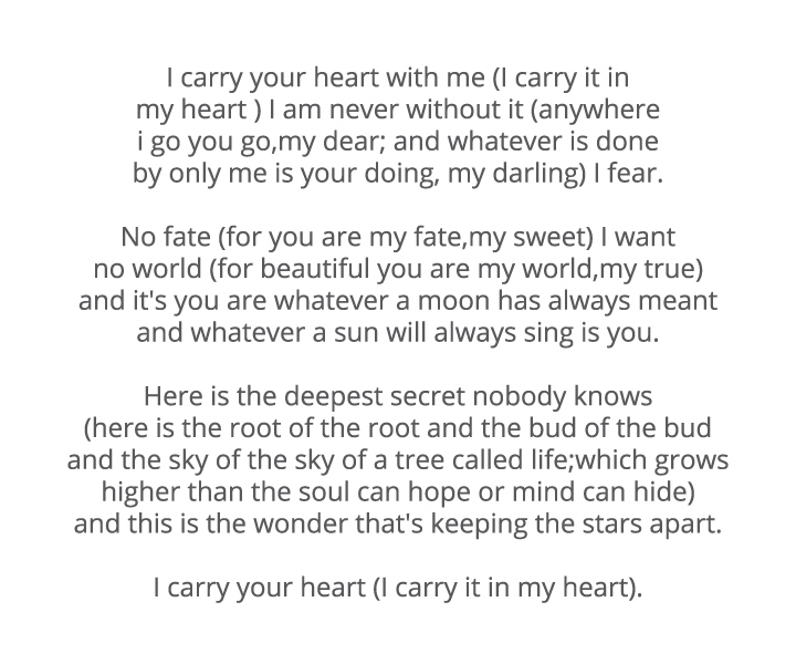 I Love You Poems For Him - I Carry Your Heart With Me By E. E. Cummings