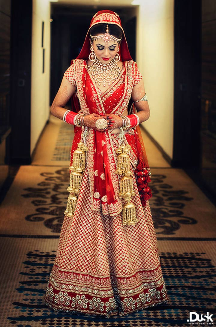 Checked Red Bridal Lehenga