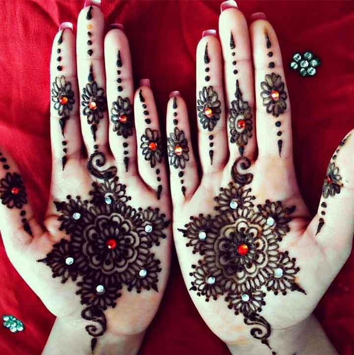 Glitter Mehndi Design - Black And Red Henna