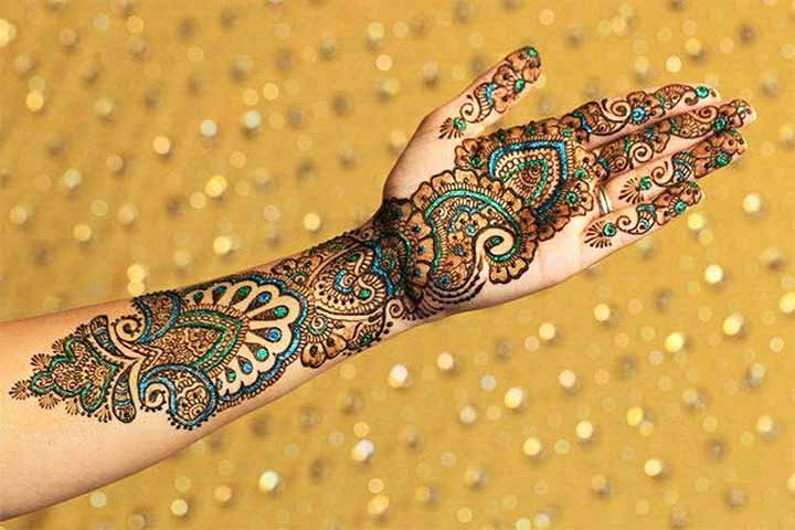 Glitter Mehndi Design - Blue And Green Henna