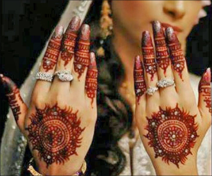 Latest Mehndi Designs - Modern Hand Floral Circle Pattern