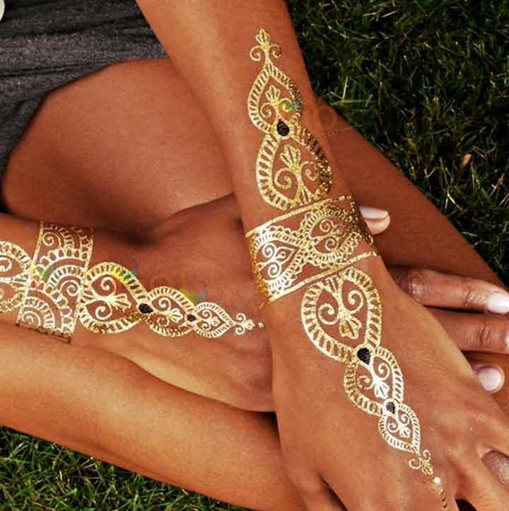 Glitter Mehndi Design - Golden Henna