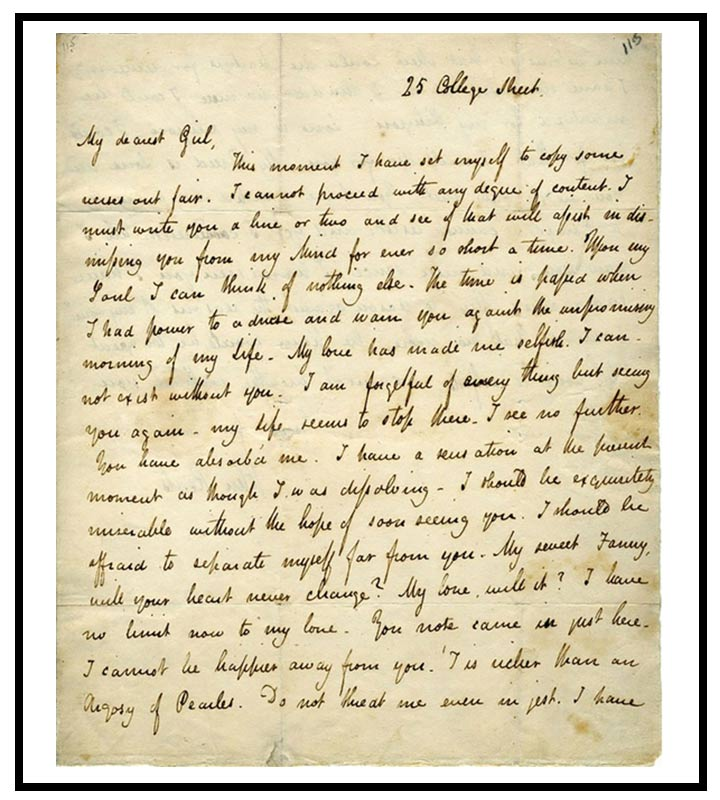 love letters for girlfriend letter to 18 of the most iconic 11851 | John Keats love letter