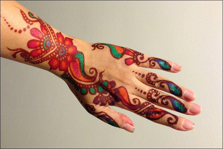 Fancy Mehndi Designs - Multi Coloured Mehndi