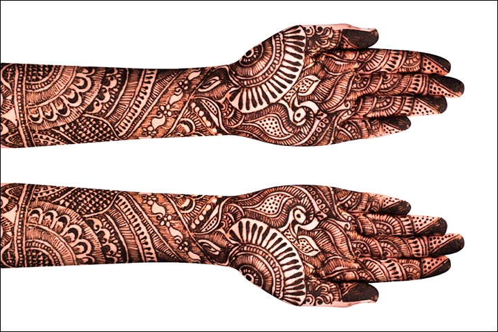 Full hands Mehndi design with intricate patterns